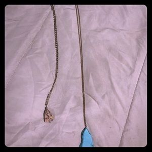 Two long stone necklaces, together